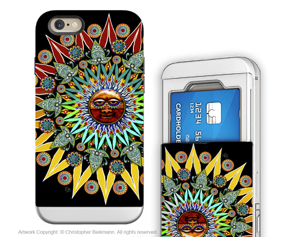 Tribal Aztec Sun - Artistic iPhone 6 6s Case - Cardholder Wallet Case - sun shaman - iPhone 6 6s Card Holder Case - Fusion Idol Arts - New Mexico Artist Christopher Beikmann