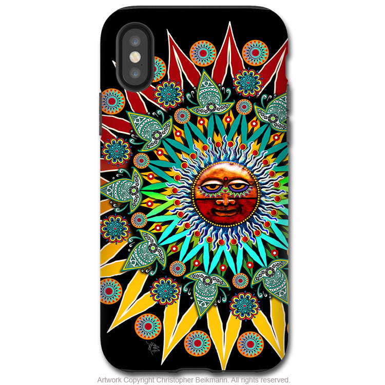 Sun Shaman - iPhone X / XS / XS Max / XR Tough Case - Dual Layer Protection for Apple iPhone 10 - Colorful Tribal Sun Face Art Case - iPhone X Tough Case - Fusion Idol Arts - New Mexico Artist Christopher Beikmann