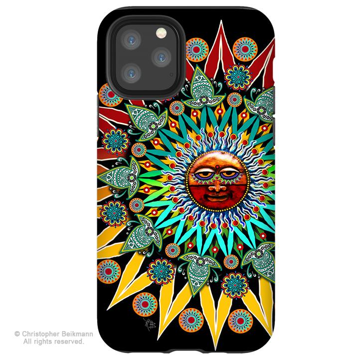 Sun Shaman - iPhone 11 / 11 Pro / 11 Pro Max Tough Case - Dual Layer Protection for Apple iPhone XI - Tribal Sun Case - iPhone 11 Tough Case - Fusion Idol Arts - New Mexico Artist Christopher Beikmann