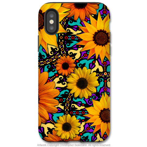 Sunflower Talavera - iPhone X / XS / XS Max / XR Tough Case - Dual Layer Protection for Apple iPhone 10 - Orange and Teal Floral Art Case - iPhone X Tough Case - Fusion Idol Arts - New Mexico Artist Christopher Beikmann