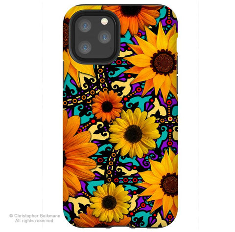 Sunflower Talavera - iPhone 11 / 11 Pro / 11 Pro Max Tough Case - Dual Layer Protection for Apple iPhone XI - Mexican Floral Art Case - iPhone 11 Tough Case - Fusion Idol Arts - New Mexico Artist Christopher Beikmann