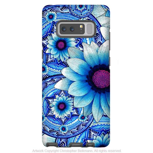 Blue Mexican Floral Galaxy Note 8 Tough Case - Dual Layer Protection - Talavera Alejandra - Paisley Case for Samsung Galaxy Note 8 - Galaxy Note 8 Tough Case - Fusion Idol Arts - New Mexico Artist Christopher Beikmann