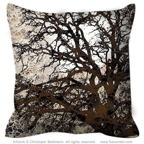 Tan and Brown Tree Silhouette Throw Pillow - Autumn Moonlit Night - Fusion Idol Arts