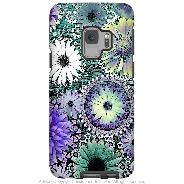 Tidal Bloom - Galaxy S9 / S9 Plus / Note 9 Tough Case - Dual Layer Protection for Samsung S9 - Purple and Green Paisley Daisy Case - Galaxy S9 / S9+ / Note 9 - Fusion Idol Arts - New Mexico Artist Christopher Beikmann