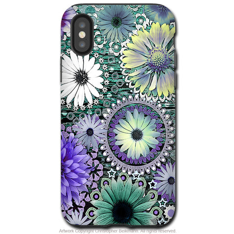 Tidal Bloom - iPhone X / XS / XS Max / XR Tough Case - Dual Layer Protection for Apple iPhone 10 - Purple and Green Floral Art Case - iPhone X Tough Case - Fusion Idol Arts - New Mexico Artist Christopher Beikmann