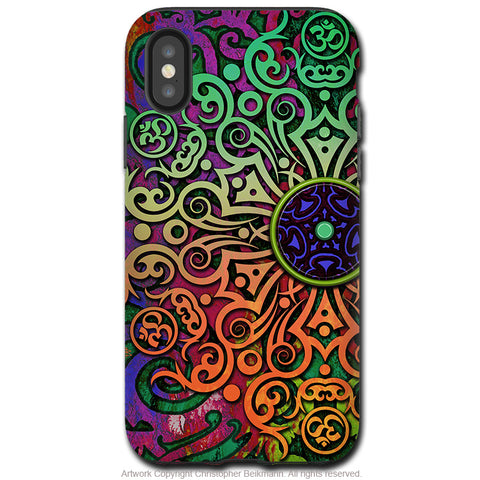 Tribal Transcendence - iPhone X / XS / XS Max / XR Tough Case - Dual Layer Protection for Apple iPhone 10 - Colorful Om Mandala Art Case - iPhone X Tough Case - Fusion Idol Arts - New Mexico Artist Christopher Beikmann