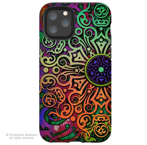 Tribal Transcendence - iPhone 11 / 11 Pro / 11 Pro Max Tough Case - Dual Layer Protection for Apple iPhone XI - Om Mandala Art Case - iPhone 11 Tough Case - Fusion Idol Arts - New Mexico Artist Christopher Beikmann