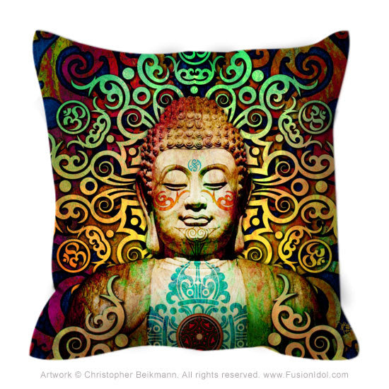 Colorful Tribal Buddha Art Throw Pillow - Heart of Transcendence, Throw Pillow - Christopher Beikmann