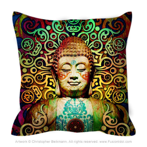 Colorful Tribal Buddha Art Throw Pillow - Heart of Transcendence - Throw Pillow - Fusion Idol Arts - New Mexico Artist Christopher Beikmann