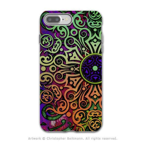 Tribal Mandala Art - Artistic iPhone 8 PLUS Tough Case - Dual Layer Protection - Tribal Transcendence - iPhone 8 Plus Tough Case - Fusion Idol Arts - New Mexico Artist Christopher Beikmann