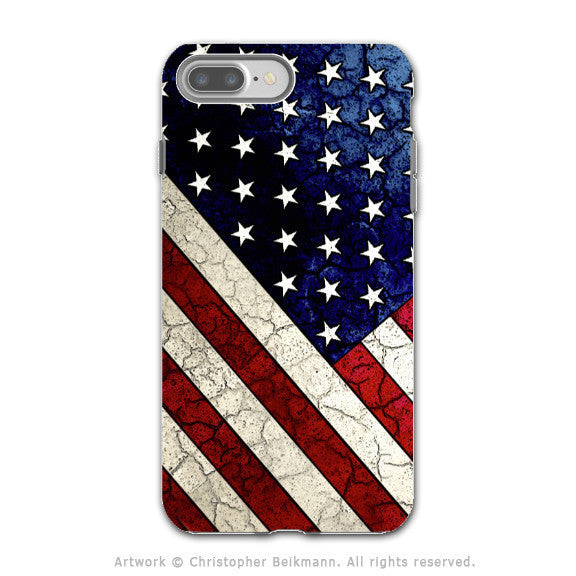 U.S. Flag Distressed - Artistic iPhone 7 PLUS - 7s PLUS Tough Case - Dual Layer Protection - Stars and Stripes - iPhone 7 Plus Tough Case - Fusion Idol Arts - New Mexico Artist Christopher Beikmann