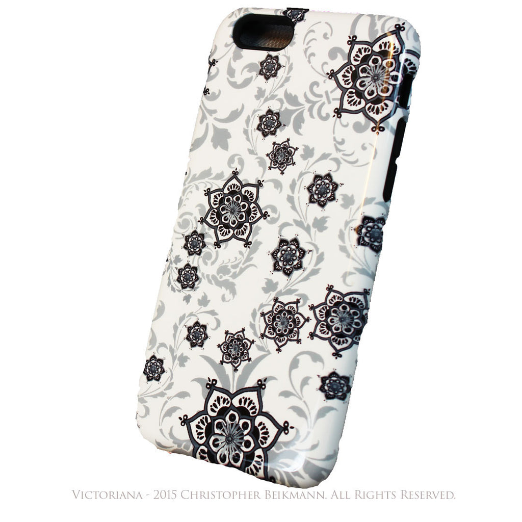 Victorian Paisley iPhone 6 6s TOUGH Case - Victoriana - Black and White Paisley Floral - Artistic iPhone 6 Case - iPhone 6 6s TOUGH Case - Fusion Idol Arts - New Mexico Artist Christopher Beikmann