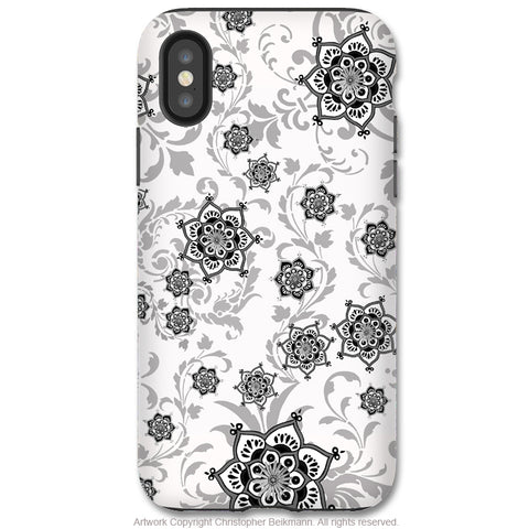 Victoriana - Paisley iPhone X / XS / XS Max / XR Tough Case - Dual Layer Protection for Apple iPhone 10 - Black and White Victorian Floral Art Case - iPhone X Tough Case - Fusion Idol Arts - New Mexico Artist Christopher Beikmann