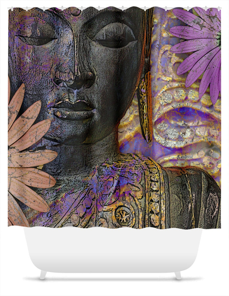 Jewels of Wisdom Buddha Shower Curtain - Shower Curtain - Fusion Idol Arts - New Mexico Artist Christopher Beikmann