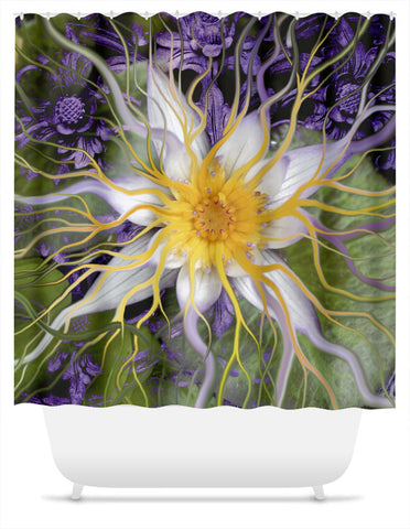 Purple and Green Lotus Floral Shower Curtain - Bali Dream Flower - Shower Curtain - Fusion Idol Arts - New Mexico Artist Christopher Beikmann