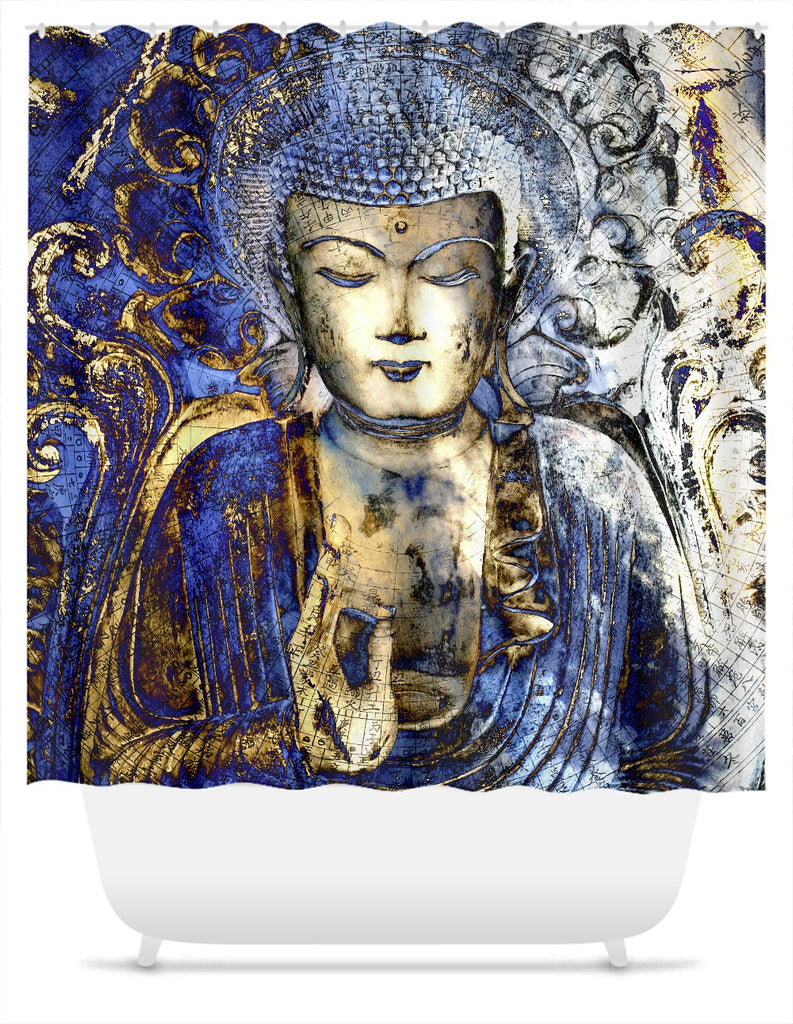 Blue and Brown Buddha Shower Curtain - Inner Guidance, Shower Curtain - Christopher Beikmann
