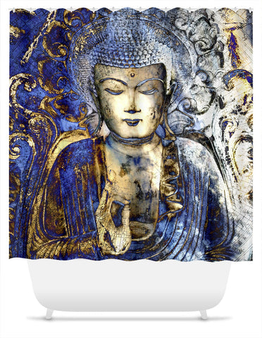 Blue and Brown Buddha Shower Curtain - Inner Guidance - Fusion Idol Arts