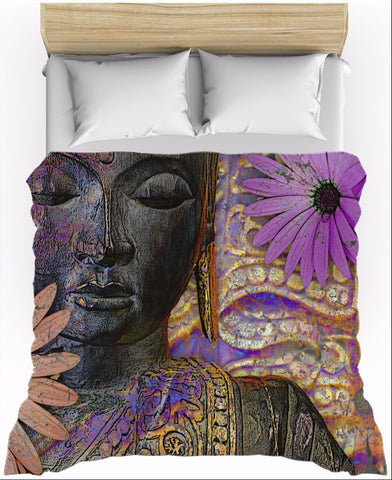 Floral Buddha Art Duvet Cover - Jewels of Wisdom - Duvet Cover - Fusion Idol Arts - New Mexico Artist Christopher Beikmann