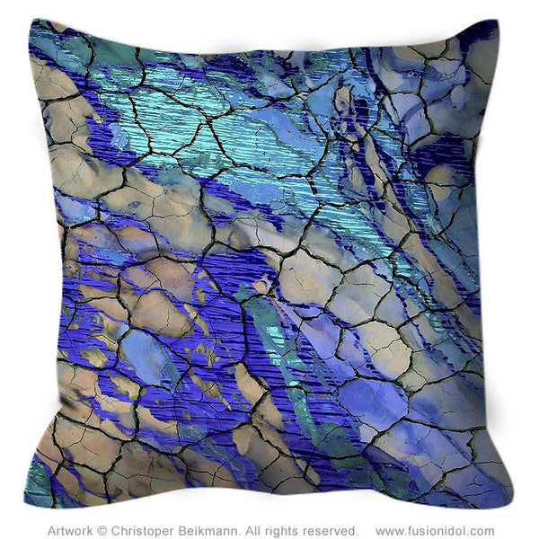 Blue and Tan Abstract Art Pillow - Cracked Earth And Water - Desert Memories - Throw Pillow - Fusion Idol Arts - New Mexico Artist Christopher Beikmann