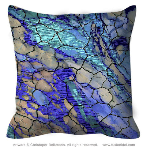 Blue and Tan Abstract Art Pillow - Cracked Earth And Water - Desert Memories, Throw Pillow - Christopher Beikmann