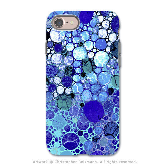 Blue Bubble Abstract - Artistic iPhone 7 Tough Case - Dual Layer Protection - Blue Bubbles - iPhone 7 Tough Case - Fusion Idol Arts - New Mexico Artist Christopher Beikmann