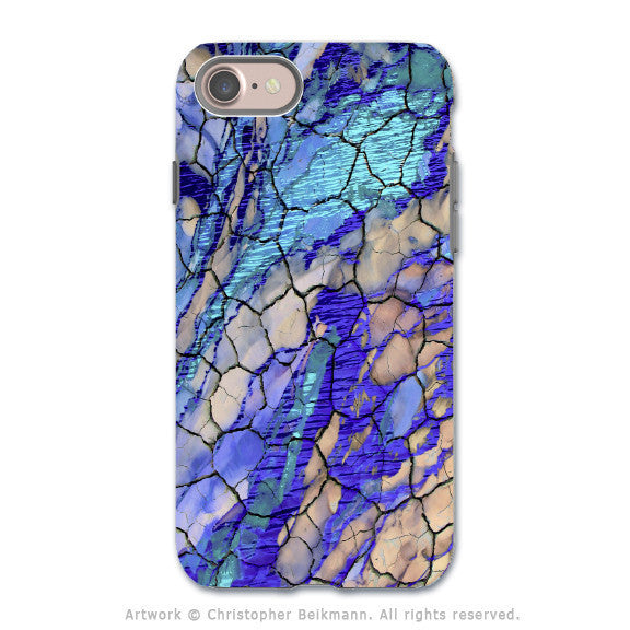 Blue Desert Abstract - Artistic iPhone 7 Tough Case - Dual Layer Protection - Desert Memories - iPhone 7 Tough Case - Fusion Idol Arts - New Mexico Artist Christopher Beikmann