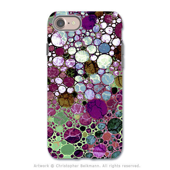 Burgundy Bubble Abstract - Artistic iPhone 7 Tough Case - Dual Layer Protection - Berry Bubbles - iPhone 7 Tough Case - Fusion Idol Arts - New Mexico Artist Christopher Beikmann