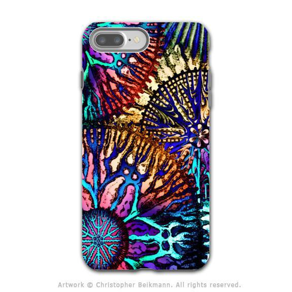 Colorful Abstract Coral - Artistic iPhone 8 PLUS Tough Case - Dual Layer Protection - Cosmic Star Coral - iPhone 8 Plus Tough Case - Fusion Idol Arts - New Mexico Artist Christopher Beikmann