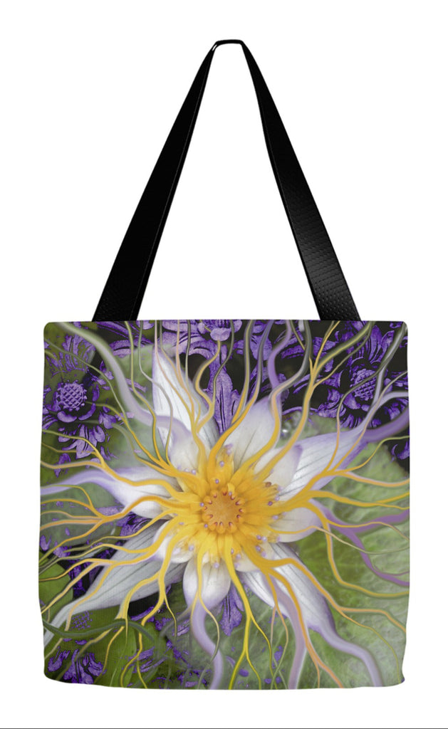 Purple and Green Lotus Blossom Tote Bag - Bali Dream Flower - Tote Bag - Fusion Idol Arts - New Mexico Artist Christopher Beikmann
