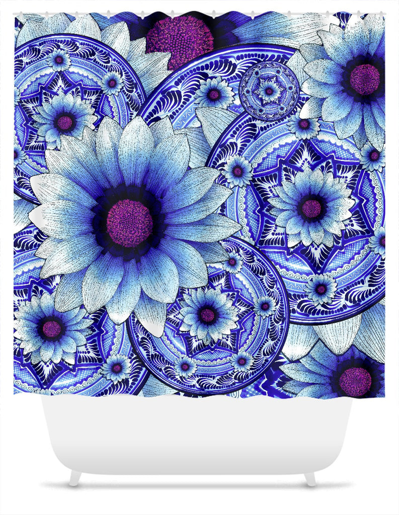 Blue Floral Shower Curtain - Talavera Alejandra - Shower Curtain - Fusion Idol Arts - New Mexico Artist Christopher Beikmann