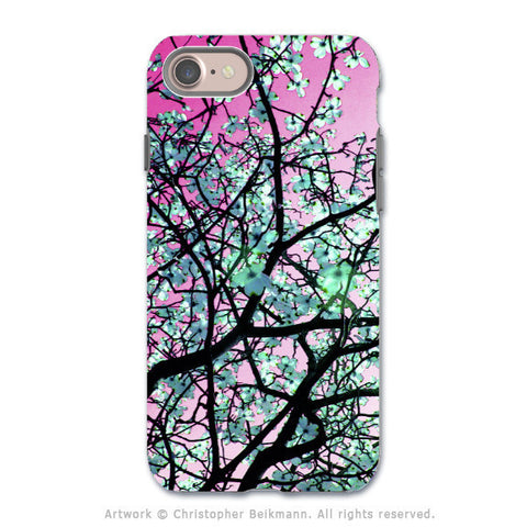 Pink Tree Blossoms - Artistic iPhone 8 Tough Case - Dual Layer Protection - Aqua Blooms - iPhone 8 Tough Case - Fusion Idol Arts - New Mexico Artist Christopher Beikmann