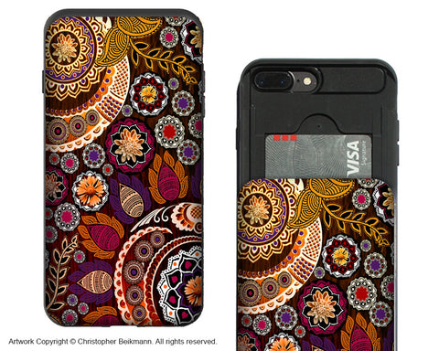 Autumn Mehndi - iPhone 7 Plus Card Holder Case - Fall Paisley Wallet Compartment Case for Apple iPhone 7 PLUS - iPhone 7 Plus Card Holder Case - Fusion Idol Arts - New Mexico Artist Christopher Beikmann