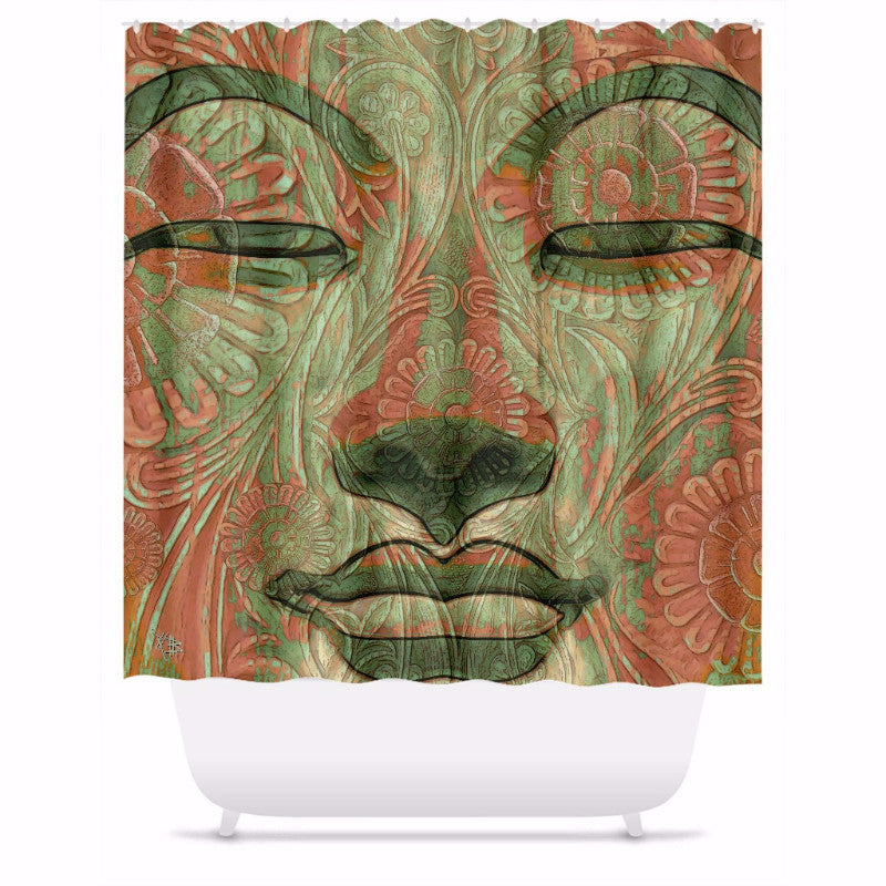 Green and Orange Buddha Face Shower Curtain - Manifestation of Mind - Shower Curtain - Fusion Idol Arts - New Mexico Artist Christopher Beikmann