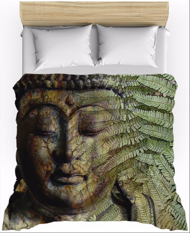 Green and Brown Fern Buddha Duvet Cover - Convergence of Thought, Duvet Cover - Christopher Beikmann