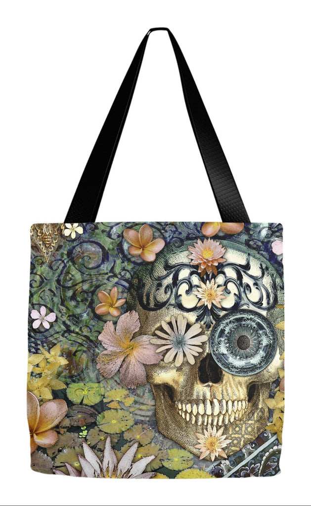 Floral Sugar Skull Tote Bag - Bali Botaniskull - Tote Bag - Fusion Idol Arts - New Mexico Artist Christopher Beikmann