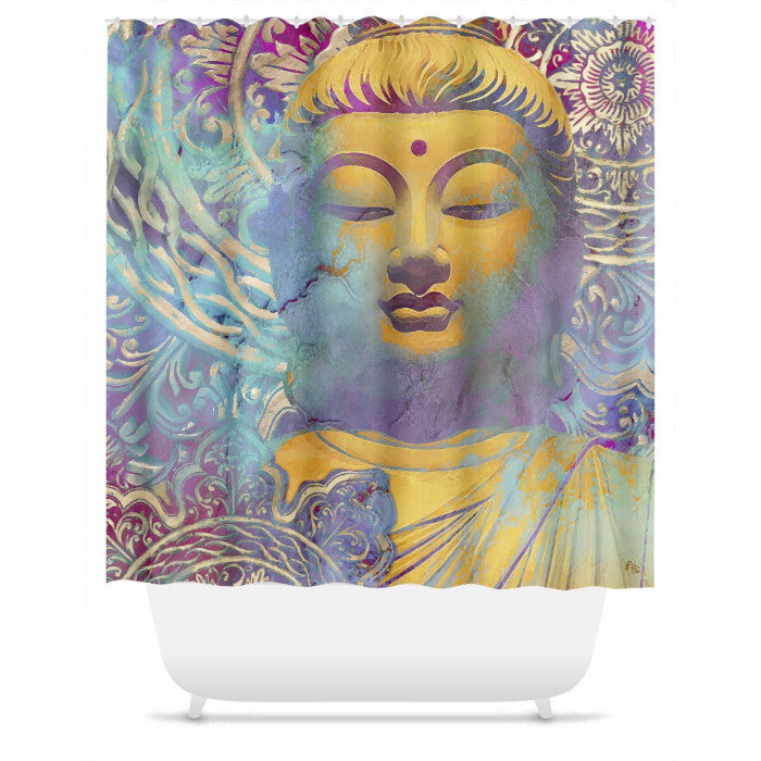 Colorful Pastel Buddha Shower Curtain - Light of Truth - Shower Curtain - Fusion Idol Arts - New Mexico Artist Christopher Beikmann
