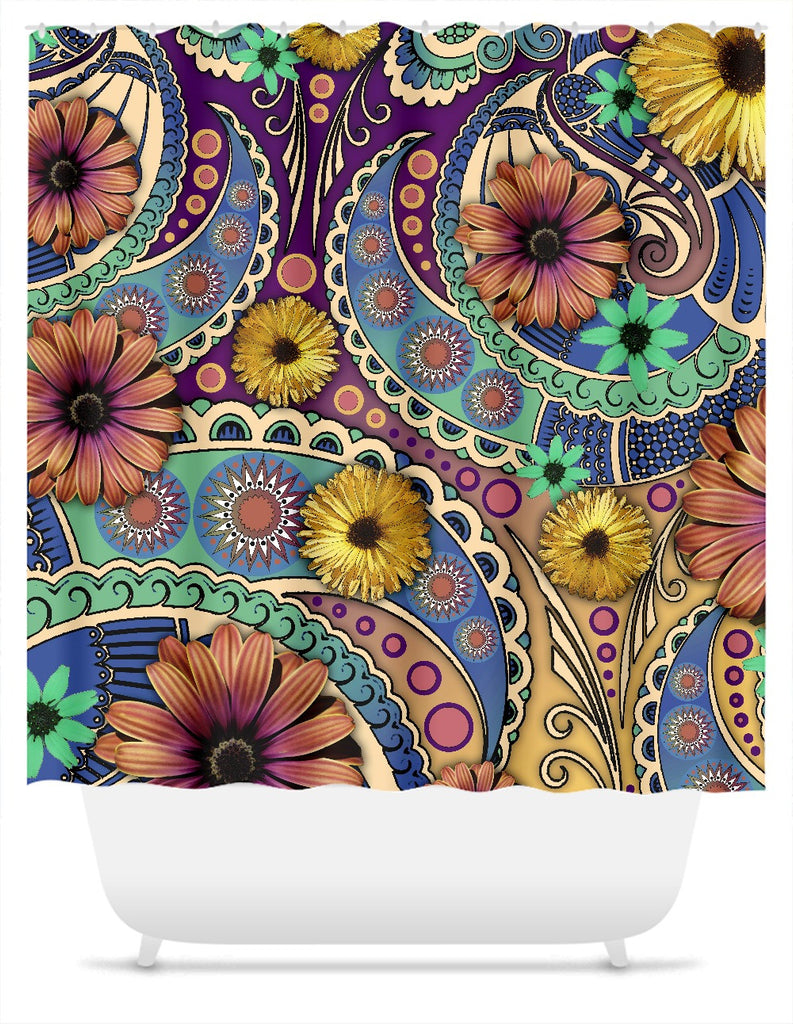 Colorful Paisley Floral Shower Curtain - Petals and Paisley - Shower Curtain - Fusion Idol Arts - New Mexico Artist Christopher Beikmann