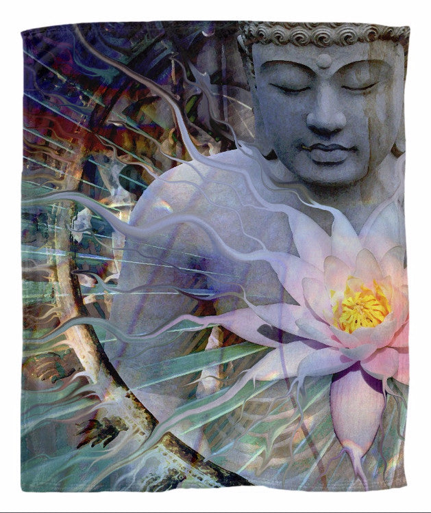 Buddha and Lotus Flower Fleece Blanket - Living Radiance - Fleece Blanket - Fusion Idol Arts - New Mexico Artist Christopher Beikmann