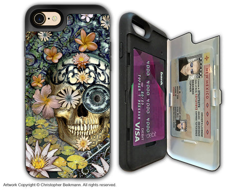 Floral Sugar Skull - Artistic Apple iPhone 7 Card Holder Case - Protective Wallet Case - bali botaniskull - iPhone 7 Card Holder Case - Fusion Idol Arts - New Mexico Artist Christopher Beikmann