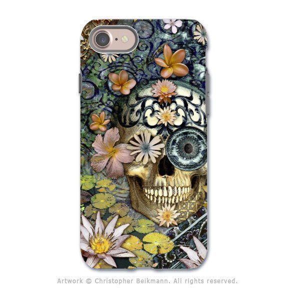 Floral Sugar Skull - Artistic iPhone 7 Tough Case - Dual Layer Protection - Bali Botaniskull - iPhone 7 Tough Case - Fusion Idol Arts - New Mexico Artist Christopher Beikmann