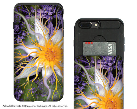 Bali Dream Flower- Lotus iPhone 7 Plus Card Holder Case - Floral Wallet Compartment Case for Apple iPhone 7 PLUS - iPhone 7 Plus Card Holder Case - Fusion Idol Arts - New Mexico Artist Christopher Beikmann