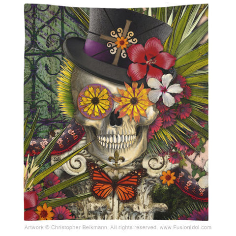 Baron in Bloom New Orleans Skull Wall Tapestry, Tapestry - Christopher Beikmann