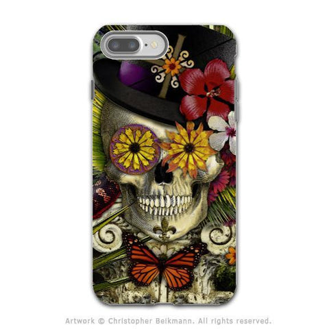 New Orleans Sugar Skull - Voodoo Baron iPhone 8 PLUS Tough Case - Dual Layer Protection - Baron in Bloom - iPhone 8 Plus Tough Case - Fusion Idol Arts - New Mexico Artist Christopher Beikmann