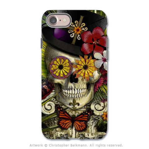 New Orleans Sugar Skull - Voodoo Baron iPhone 8 Tough Case - Dual Layer Protection - Baron in Bloom - iPhone 8 Tough Case - Fusion Idol Arts - New Mexico Artist Christopher Beikmann