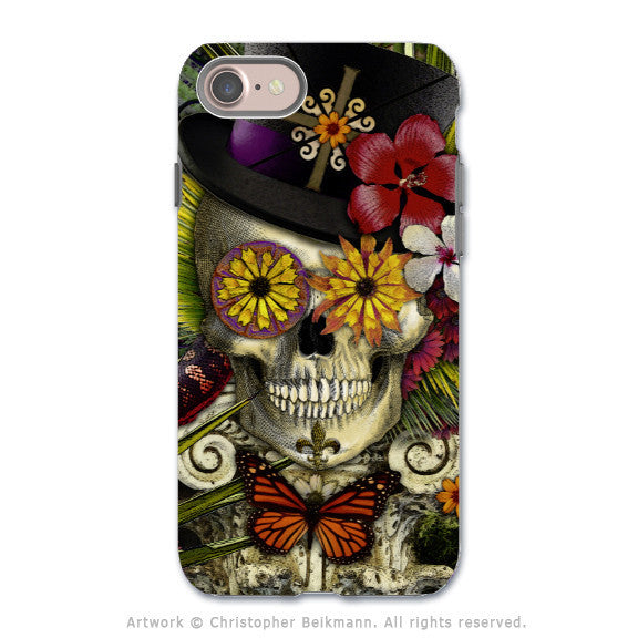 New Orleans Sugar Skull - Voodoo Baron iPhone 7 Tough Case - Dual Layer Protection - Baron in Bloom - iPhone 7 Tough Case - Fusion Idol Arts - New Mexico Artist Christopher Beikmann