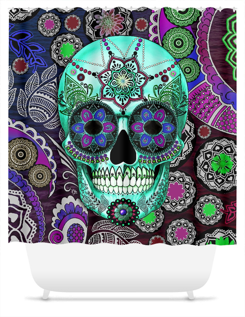 Purple Paisley Sugar Skull Shower Curtain - Sombrero Night, Shower Curtain - Christopher Beikmann