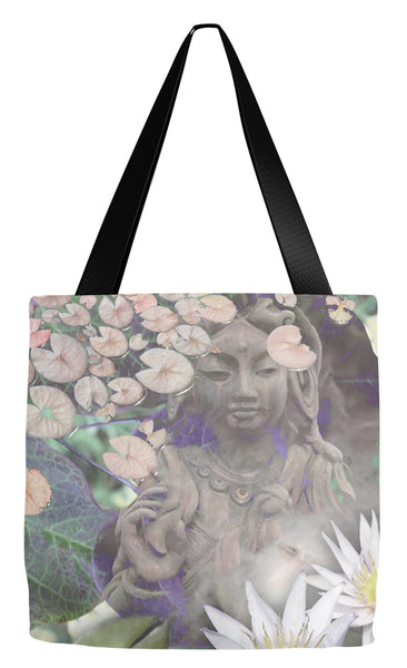 Pastel Goddess Kwan Yin Buddhist Art Tote Bag - Reflections - Tote Bag - Fusion Idol Arts - New Mexico Artist Christopher Beikmann