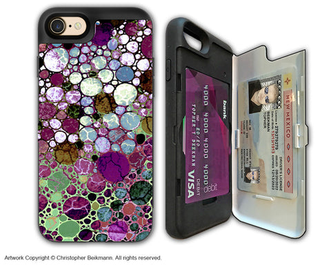 Burgundy Bubble Abstract - Artistic Apple iPhone 7 Card Holder Case - Protective Wallet Case - berry bubbles - iPhone 7 Card Holder Case - Fusion Idol Arts - New Mexico Artist Christopher Beikmann