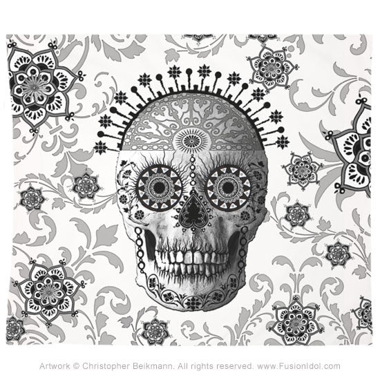 Victorian Bones Tapestry - Black and White Sugar Skull - Tapestry - Fusion Idol Arts - New Mexico Artist Christopher Beikmann
