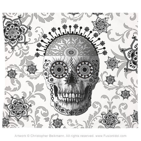 Victorian Bones Tapestry - Black and White Sugar Skull, Tapestry - Christopher Beikmann